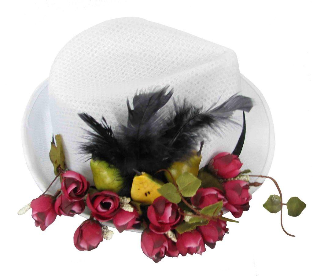 GARIMPPO - Chapéu branco flores e frutas - R$ 65,00 - Baixa