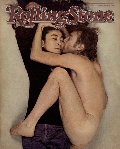 A capa história da Rolling Stones com o casal Yoko e Lenon