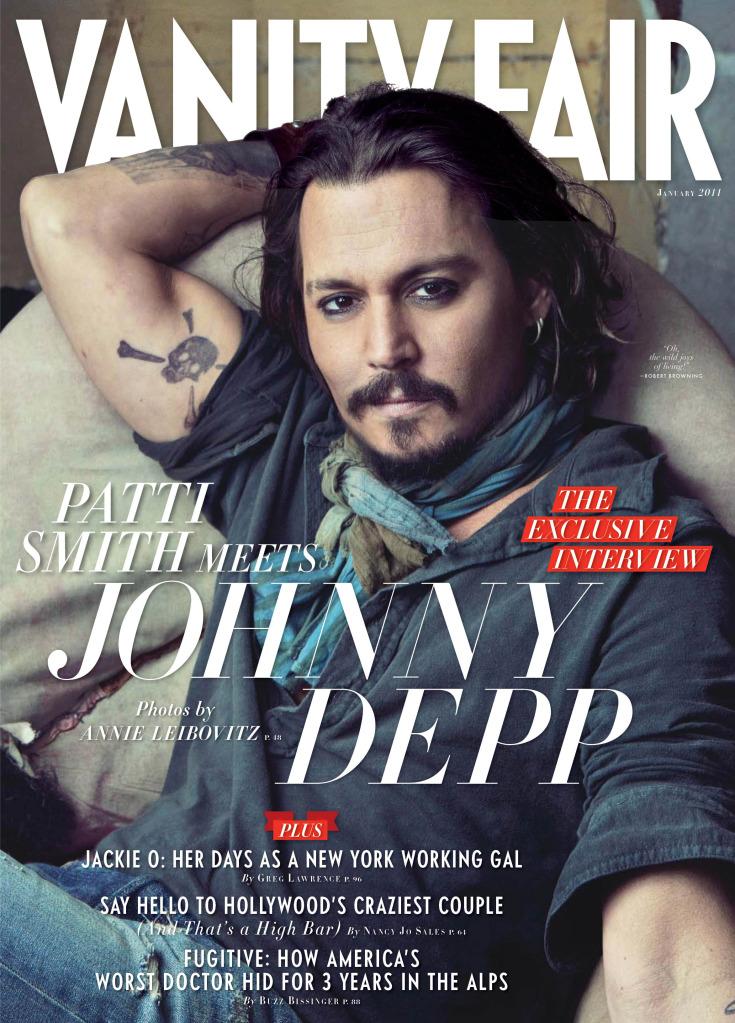 Uma de suas capas para a Vanity Fair com Johnny Depp