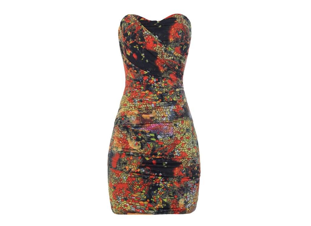 Vestido tomara-que-caia com estampa abstrata, R$ 99,90