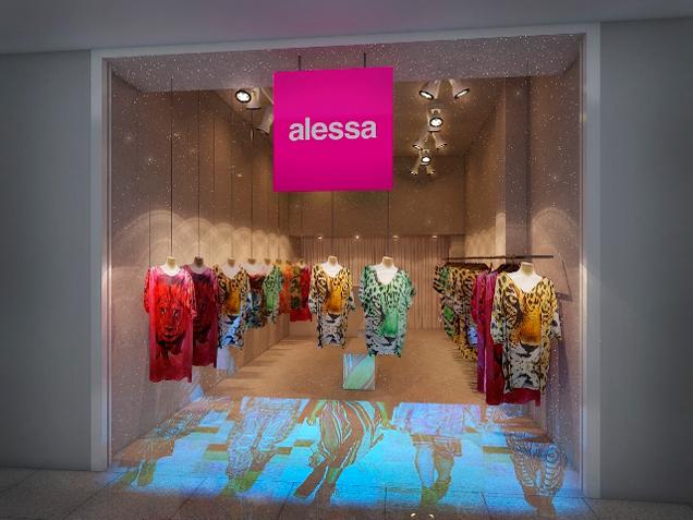 A fachada da flagship de Alessa no Shopping Leblon