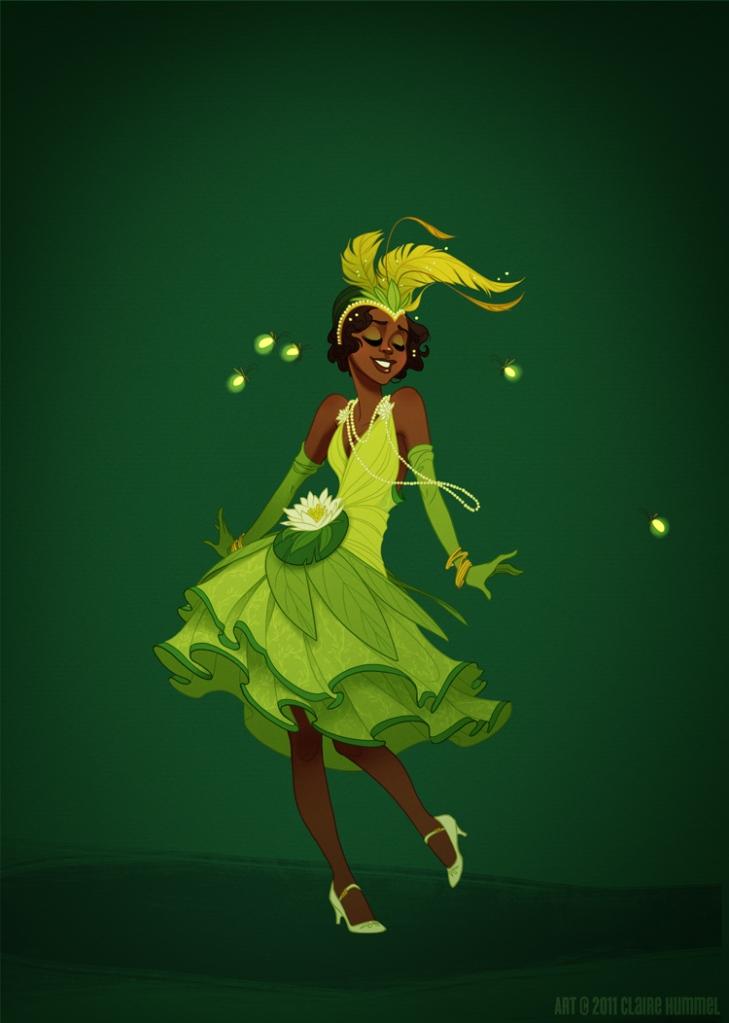 O figurino de Tiana é inspirado na cidade de Nova Orleans, berço do jazz.