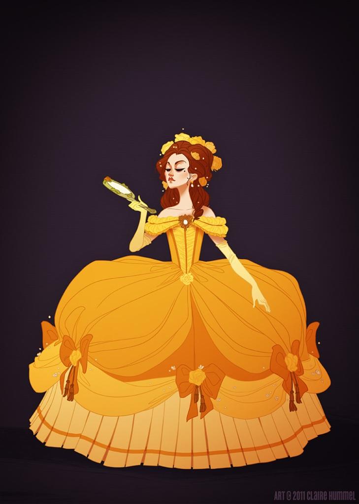 O vestido da Bela é baseado nas formas da corte francesa de 1770