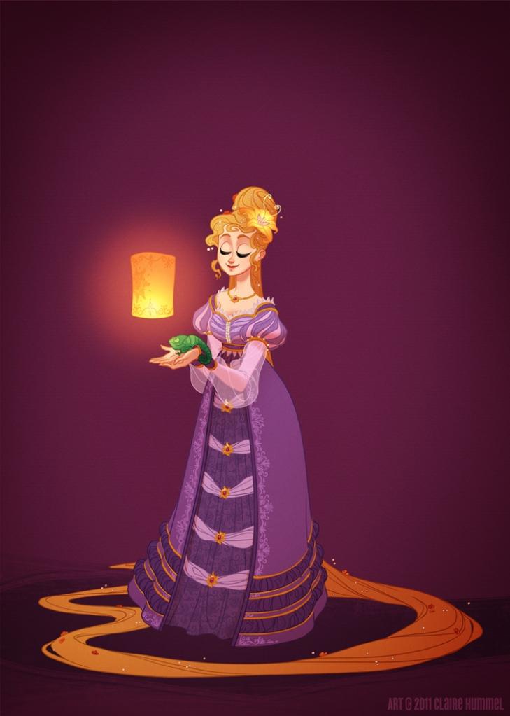 Rapunzel usa vestido com base na Alemanha, 1698