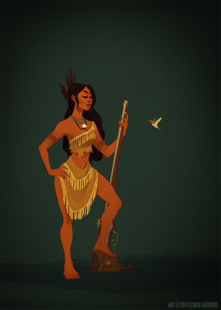 Pocahontas com base no costume Powhatan século XVII