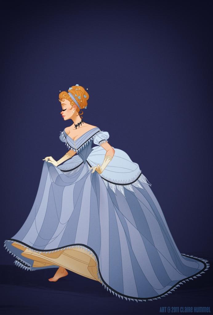 O vestido da Cinderela é baseado em meados da década de 1860
