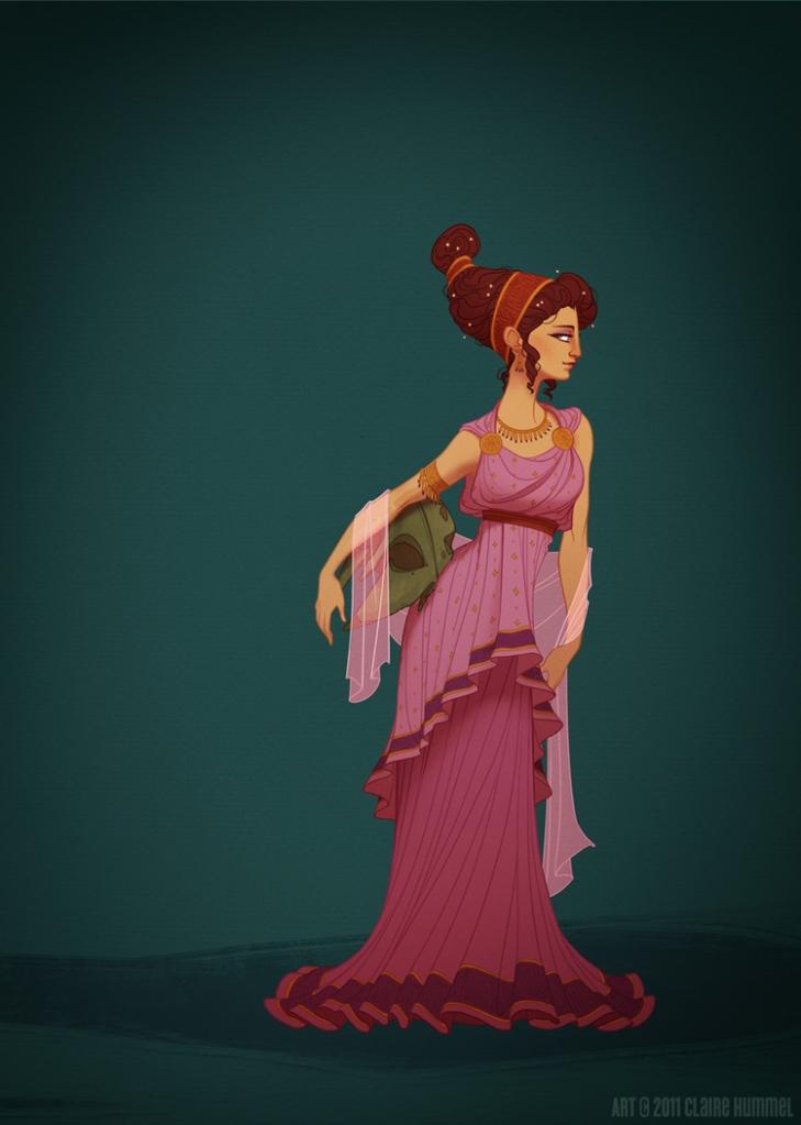 A princesa Megara usa vestido tradicional da Grécia Mitológica