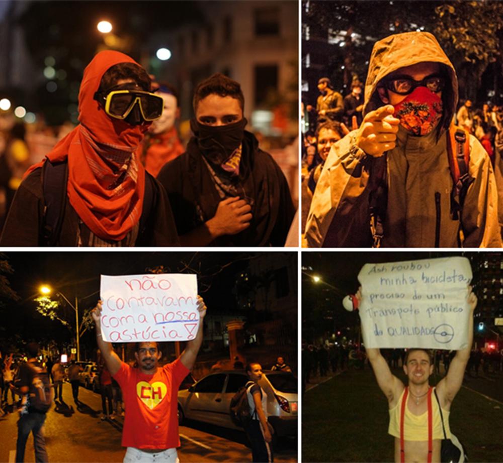 """As roupas de """"guerra"""" que alguns dos manifestantes usaram (imagens: reprodução Google)"""