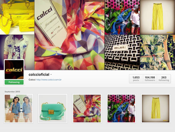 Coleções, zoom de estampas e detalhes, famosos que usam Colcci e até as promoções são divulgadas no perfil da marca.