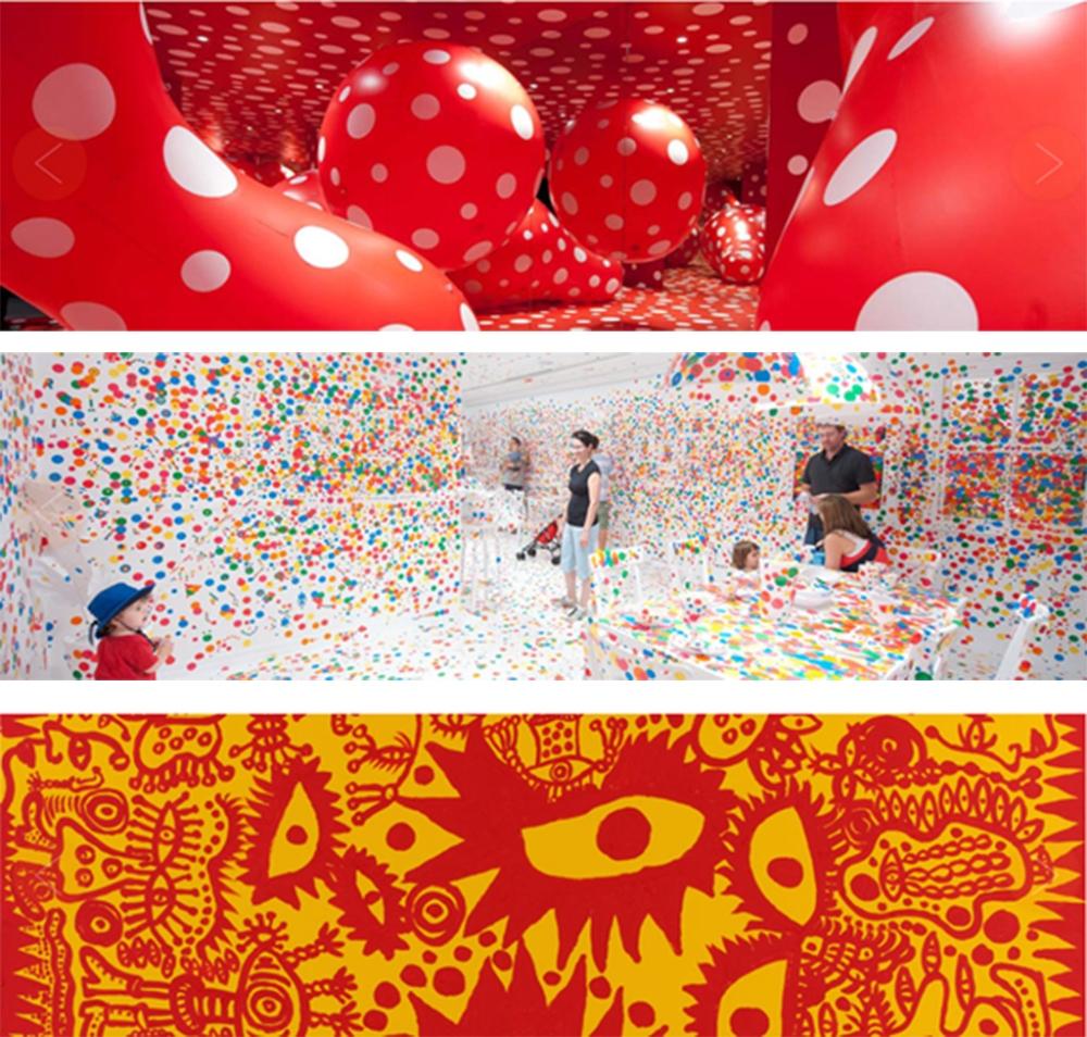 """Exposição """"Look Now, See Forever ', uma grande exposição individual com o trabalho novo e recente Kusama, na Galeria de Arte Moderna, a partir de 19 de novembro de 2011 a 11 de Março de 2012, baseia-se no compromisso de longo prazo do Queensland Art Gallery com o artista, NA Australia"""