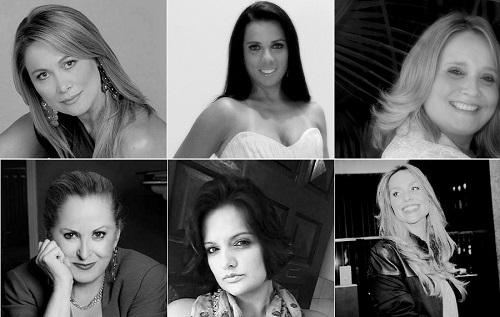 Em sentido horário: Adelita Del Sent, Amanda Accioli, Angelica Silva, Claudia Abreu, Camila Regina Morgado, Antonia Hamada