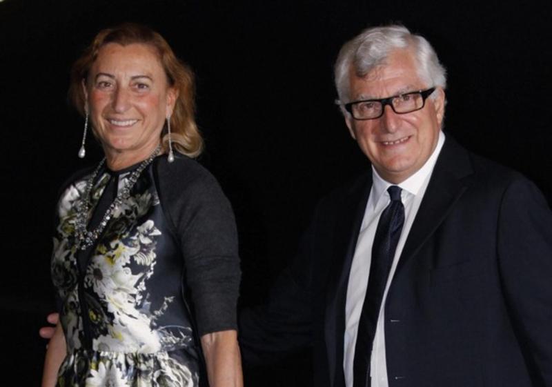 A estilista Miuccia Prada e seu marido, CEO do Grupo, Patrizio Bertelli