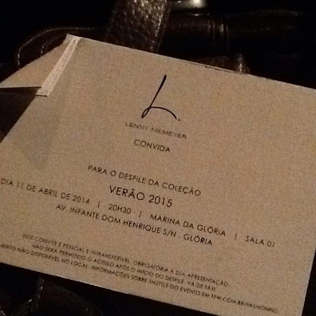 O convite do desfile da Lenny (imagem: Érica Ribeiro)